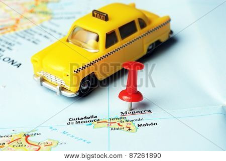 Menorca Island ,spain Map Taxi