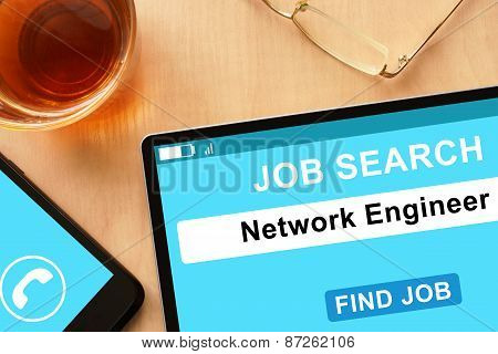 Tablet with Network Engineer on job search site.