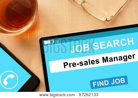 Tablet with Pre-sales Manager on job search site.