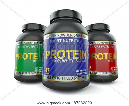 Sport nutrition and bodybuilding fitness supplements  concept - whey isolate, soy and egg protein jar cans isolated on white background, wide angle shot