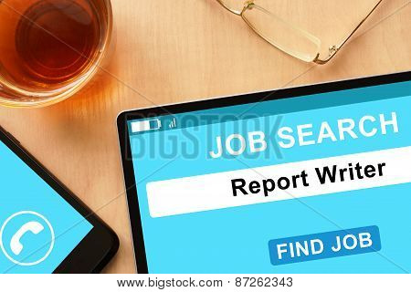 Tablet with Report Writer on job search site.