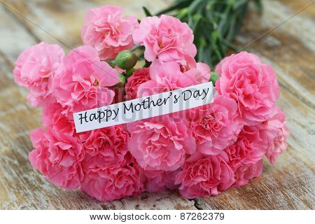 Happy Mother's day card with pink carnations bouquet