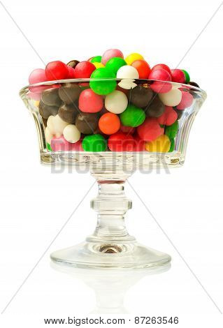 Colorful Round Candy In A Glass Vase