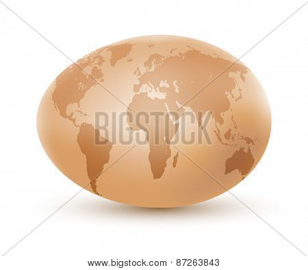 World map on an egg. Vector illustration.