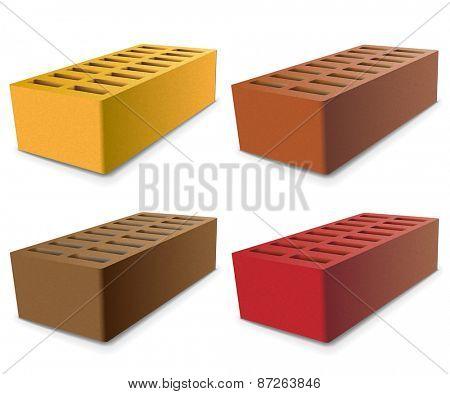 Set Brick isolated on a white background. Vector illustration.
