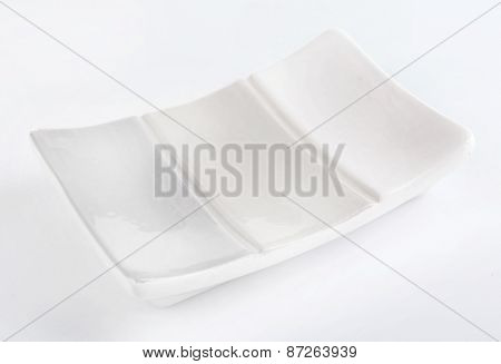 Empty soap-dish, isolated on white