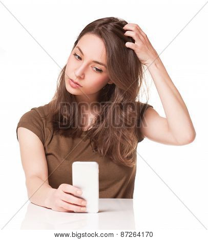 Sweet Young Brunette Using Mobile Phone.