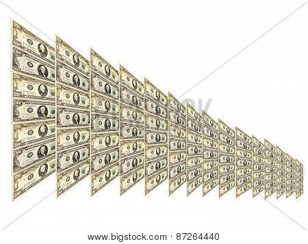 Dollar Pattern With Abstract Plate Isolated