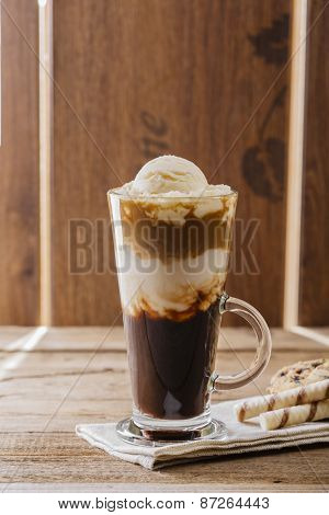 iced coffee with milk and ice cream
