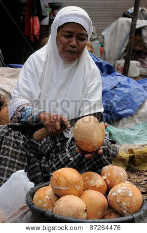 People From Indonesia, Woman Selling Coconuts
