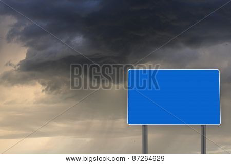 Empty Billboard For Inscription On The Background Of Dark Clouds