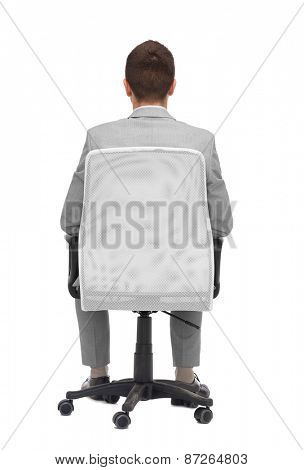 business, people, furniture, rear view and office concept - businessman sitting in office chair from back
