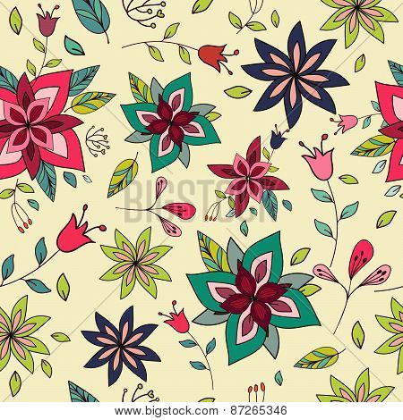 Seamless Colorful Texture With Bright Floral Elements.