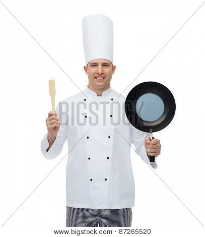 cooking, profession and people concept - happy male chef cook holding frying pan and spatula