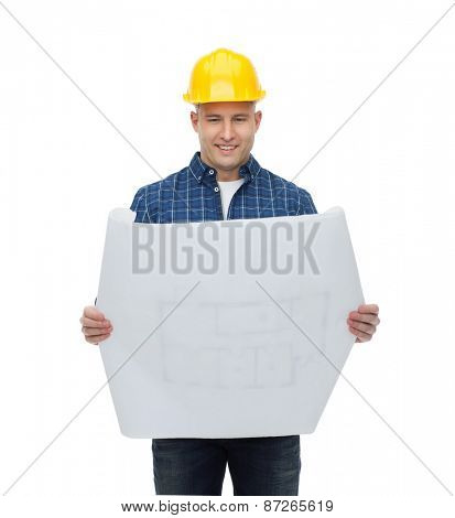 repair, construction, building, people and maintenance concept - smiling male builder or manual worker in helmet with blueprint