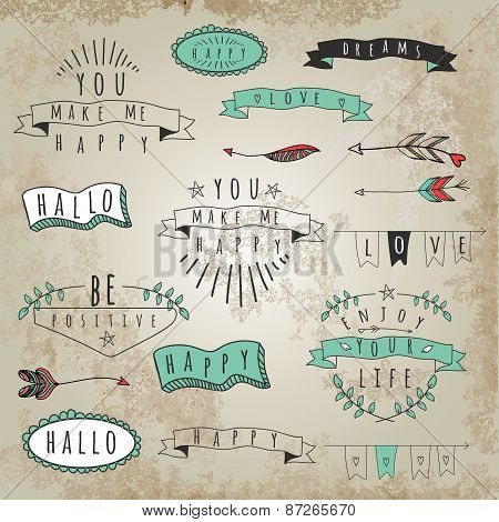 Vector Collection Of Hipster Style Words And Phrases.