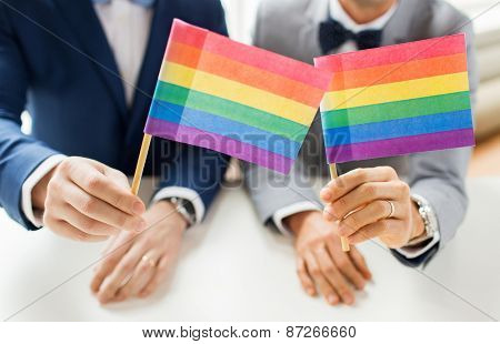 people, homosexuality, same-sex marriage and love concept - close up of happy male gay couple in suits and bow-ties with wedding rings holding rainbow flags