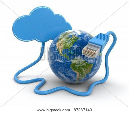Cloud, Globe and computer cable (clipping path included)