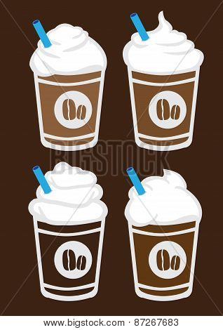 Iced Coffee With Cream Vector Illustration