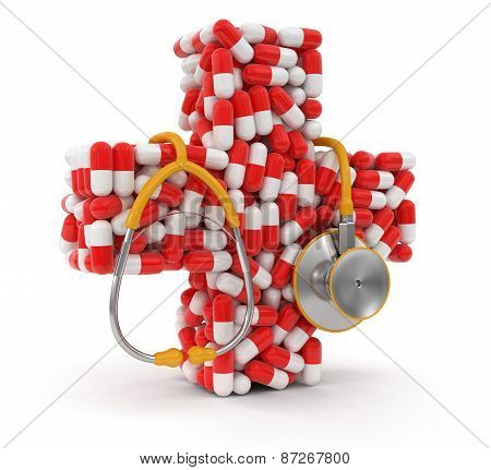 Cross from Pills and stethoscope (clipping path included)