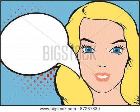 Pop art vector illustration of a woman and comic bubble