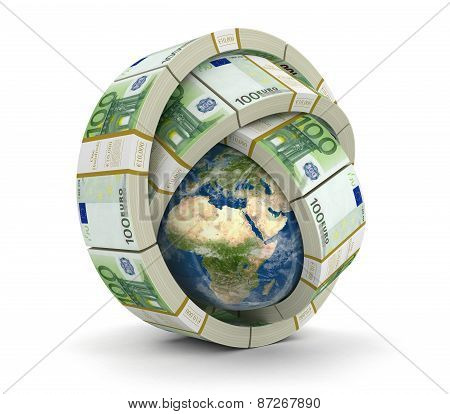 Pile of Euro and globe (clipping path included)