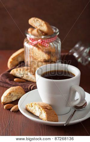 coffee and traditional italian cantuccini cookies