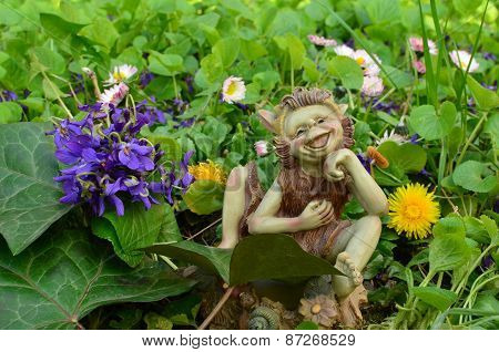Bouket Of Violets And Dwarf Doll