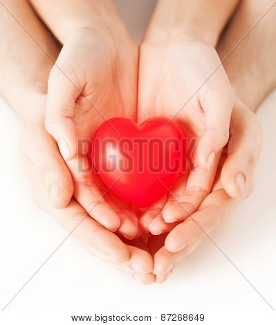 health, love and relationships concept - closeup of couple hands with big red heart