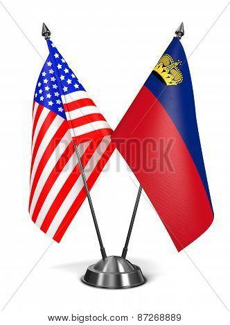 USA and Liechtenstein - Miniature Flags.