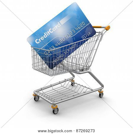Shopping Cart and Credit Card (clipping path included)