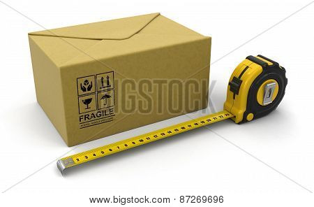 Paper Package  and ruler (clipping path included)