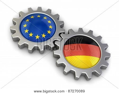 German and European union flags on a gears (clipping path included)