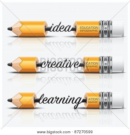 Education And Learning Step Infographic With Carve Pencil Lead