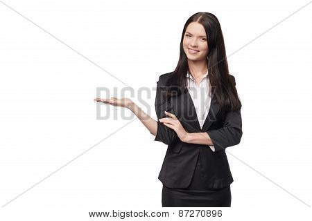 Business woman showing open hand palm