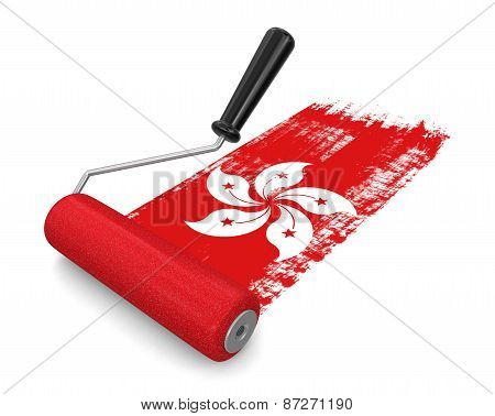Paint roller with flag of Hong Kong (clipping path included)