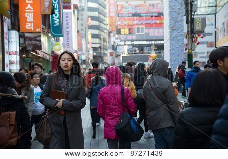 People Walking Around Myeongdong