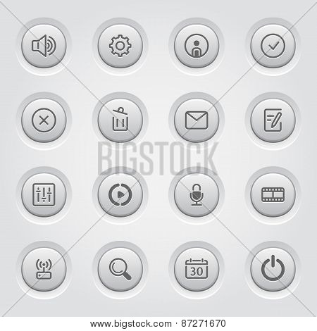 Social Media Icons Set Of Movie Network Equalizer And Microphone Recorder