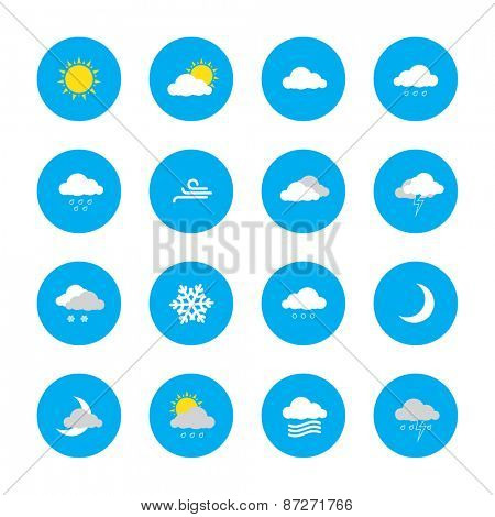 weather forecast icons in blue rounds