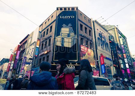 Myeongdong District  With People Around