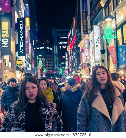 Crowd People  In Seoul Capital Of South Korea, As Urban Scene At Night