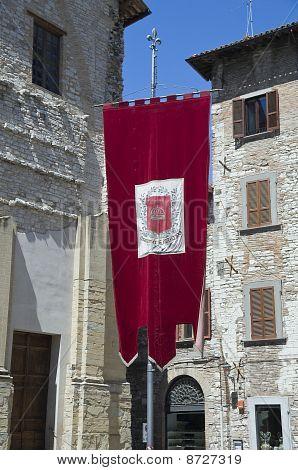 Red drape. Gubbio. Umbria.