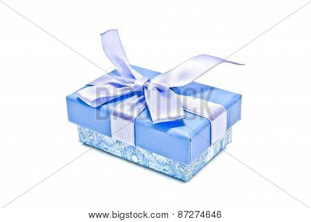 Single Blue Gift Box On White