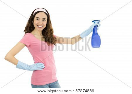 Cleaning Woman With A Spray Bottle In Her Hand