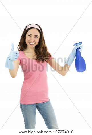 Happy Cleaning Woman Giving Thumbs Up