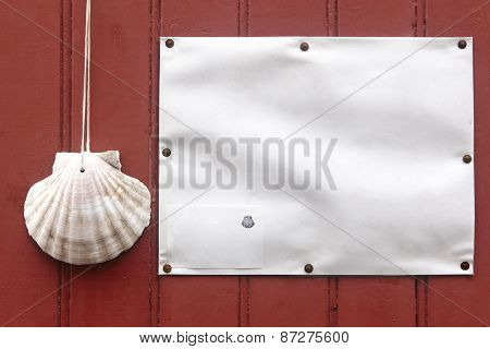 Oyster Shell In A Red Door. Santiagos Way Symbol