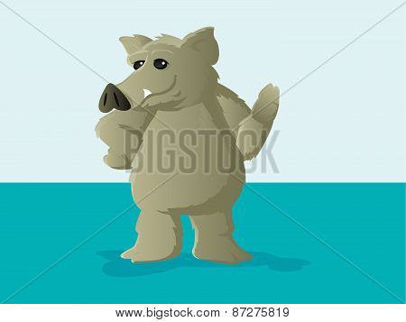 Cute Hog Or Boar Mascot