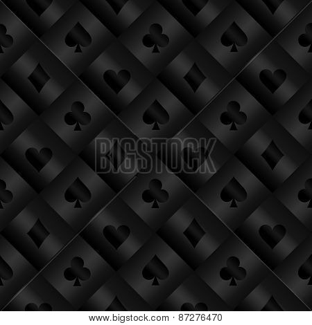 Black Seamless Pattern With Poker Card Symbols