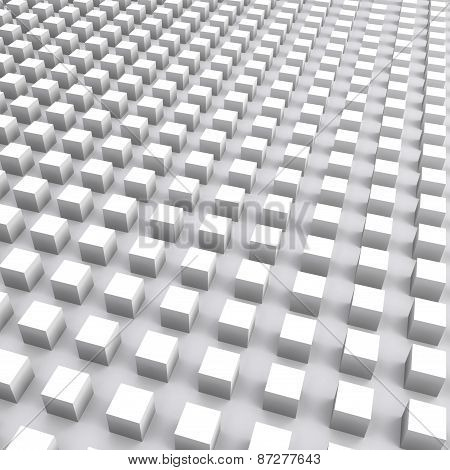 Abstract Square Digital Background With White Cubes Array