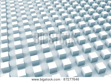 Abstract Digital Background With Light Blue Cubes Array